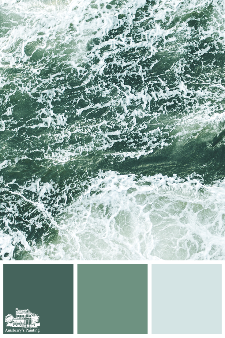 Color Palette // Sea Tones SW6468 Hunt Club, SW6459 Jadite, SW6784 Brovo Blue