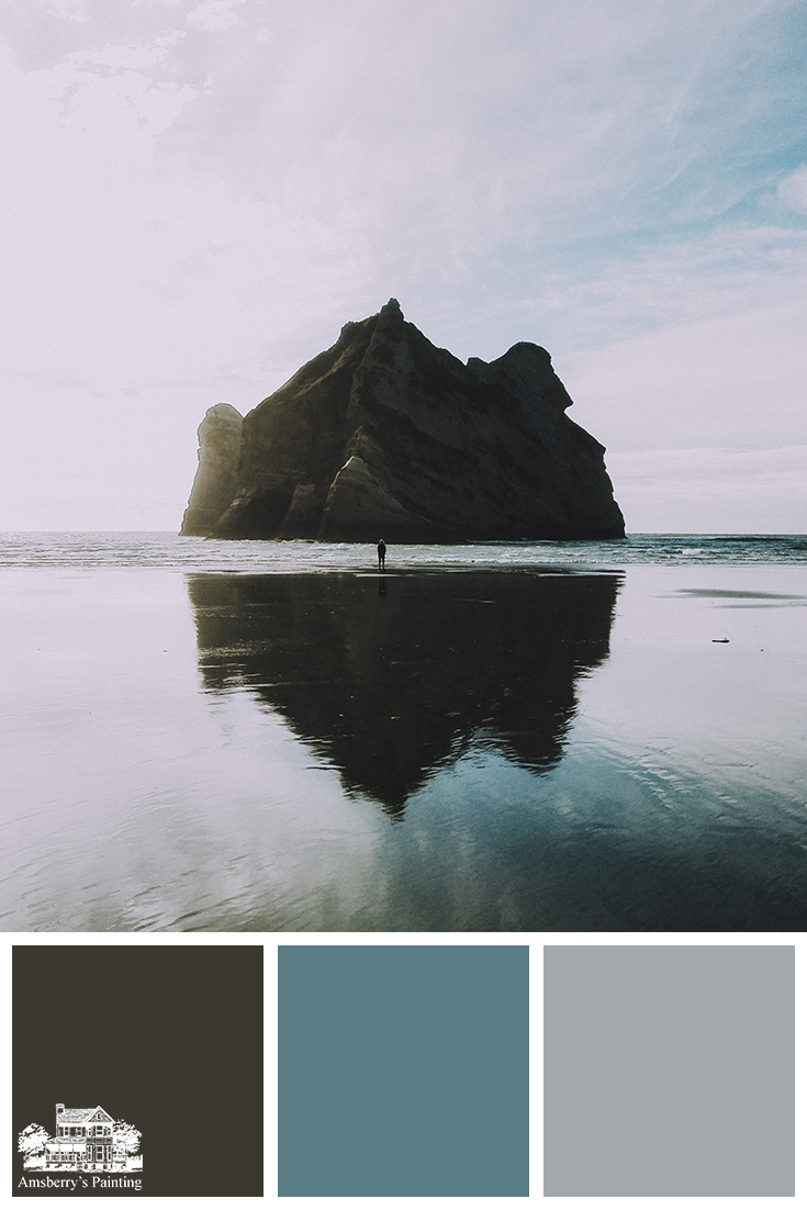 Color Palette // Oceanside Walk SW9175 Deep Forest Brown, SW9059 Silken Peacock, SW6255 Morning Fog