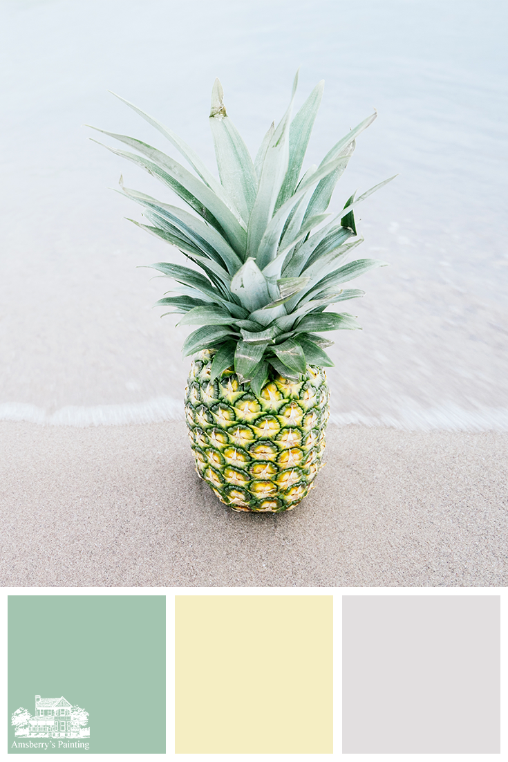Color Palette // Pineapple Beach Party SW6744 Reclining Green, SW1666 Venetian Yellow, SW6183 Conservative Gray