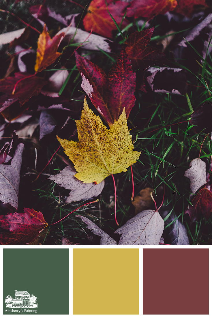 Color Palette // Fallen Tones SW6461 Isle of Pines, SW6697 Nugget, SW7584 Red Theatre